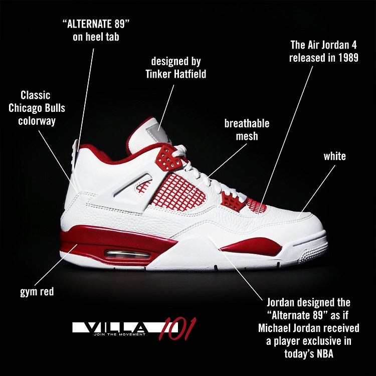 Infografika Air Jordan IV 1989 Alternate
