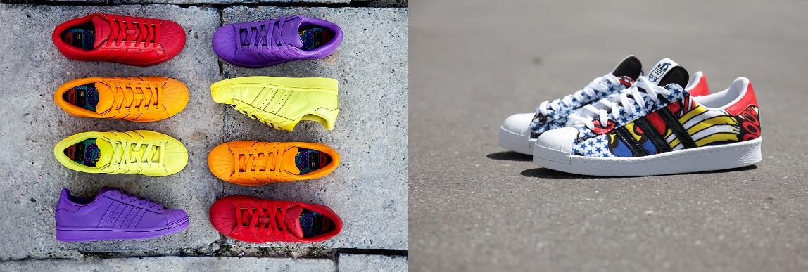 Po lewej stronie efekt współpracy adidasa z muzykiem Pharellem Wiliamsem, po prawej z Ritą Orą